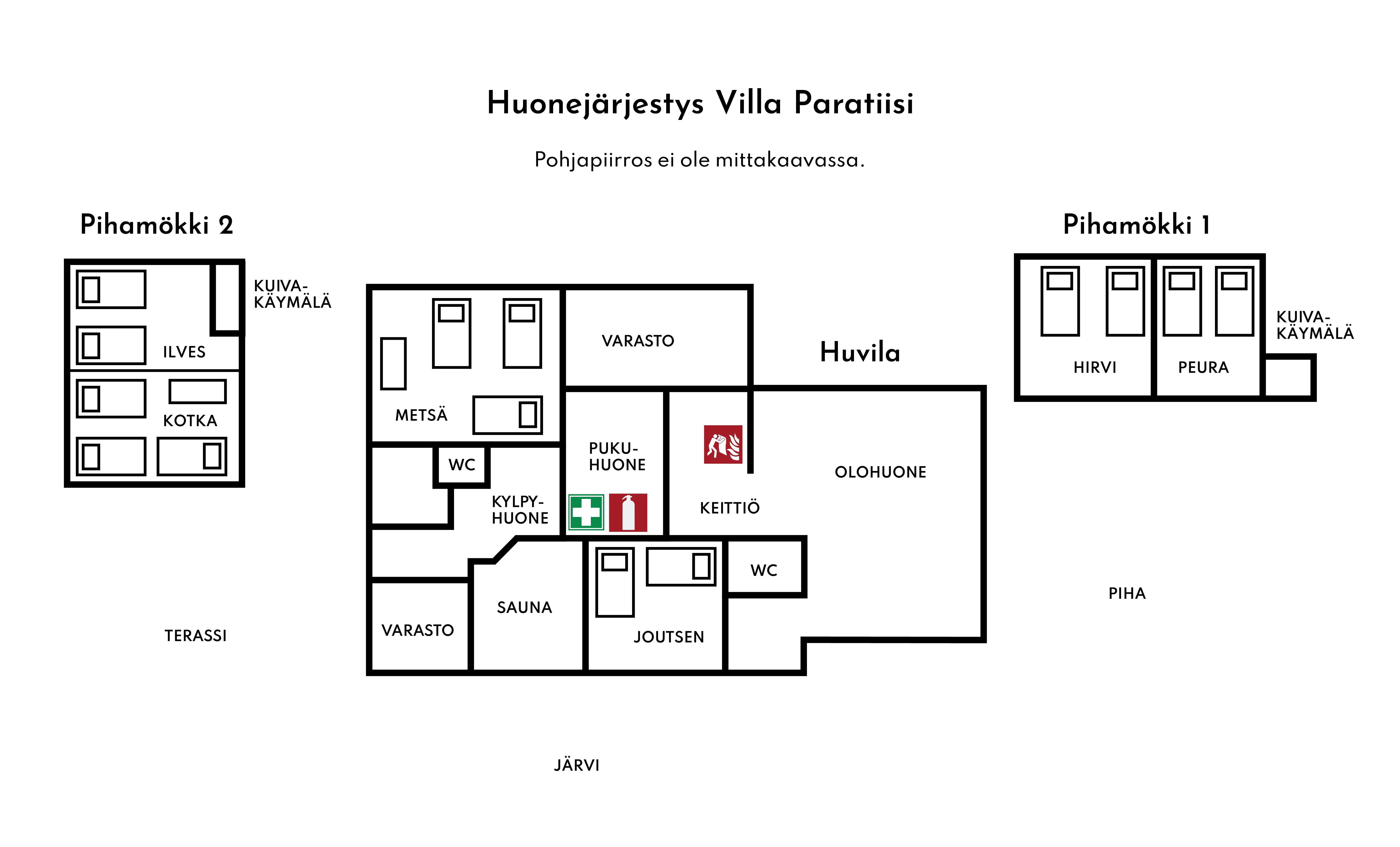 Villa Paratiisi Huonejärjestys Pohjapiirros